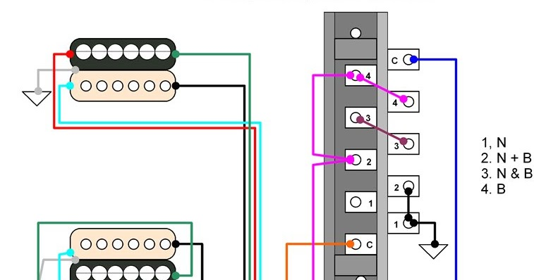 Hermetico Guitar: Wiring Diagram: Tele HH 4-way Mod With