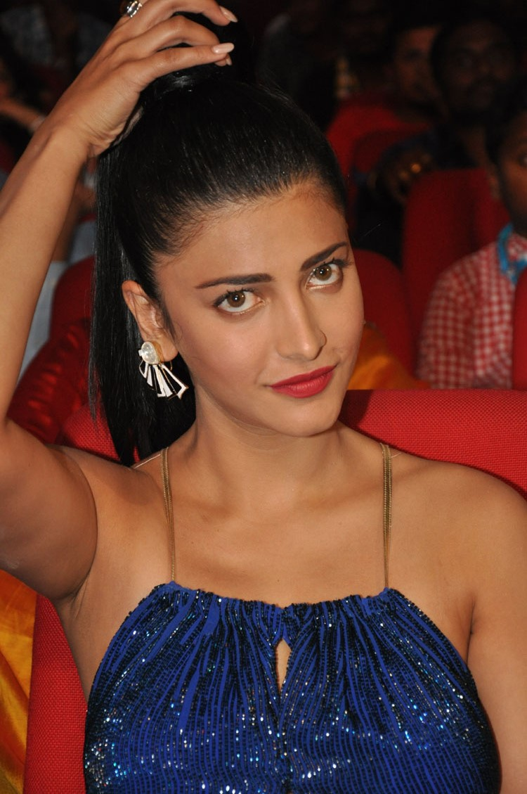 Tollywood Beautiful Actress Shruti Hassan In Blue Gown at Movie Audio Release