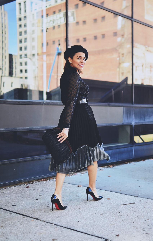 Metallic Skirt Street Style