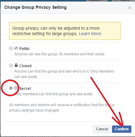 How To Change The Privacy For A Group step 3