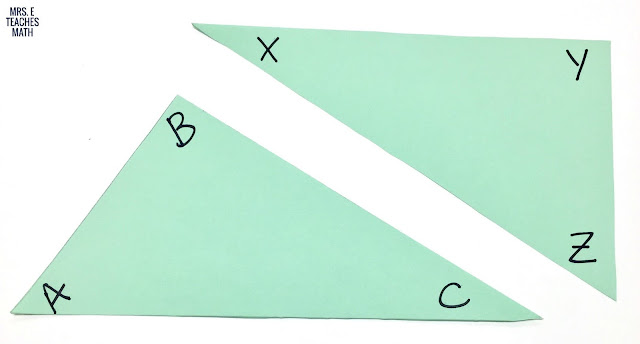 Investigating Overlapping Triangles - this is a great hands-on activity to do before congruent triangles proofs