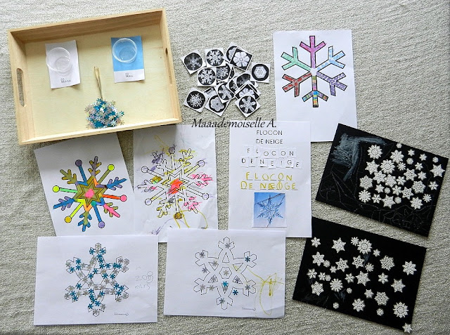    Nos activités sur les flocons de neiges - Plateau sensoriel, Mémory, graphisme, coloriages, écriture, gommettes, collages