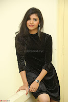 Mounika in a velvet short black dress for Tick Tack Movie Press Meet March 2017 082.JPG