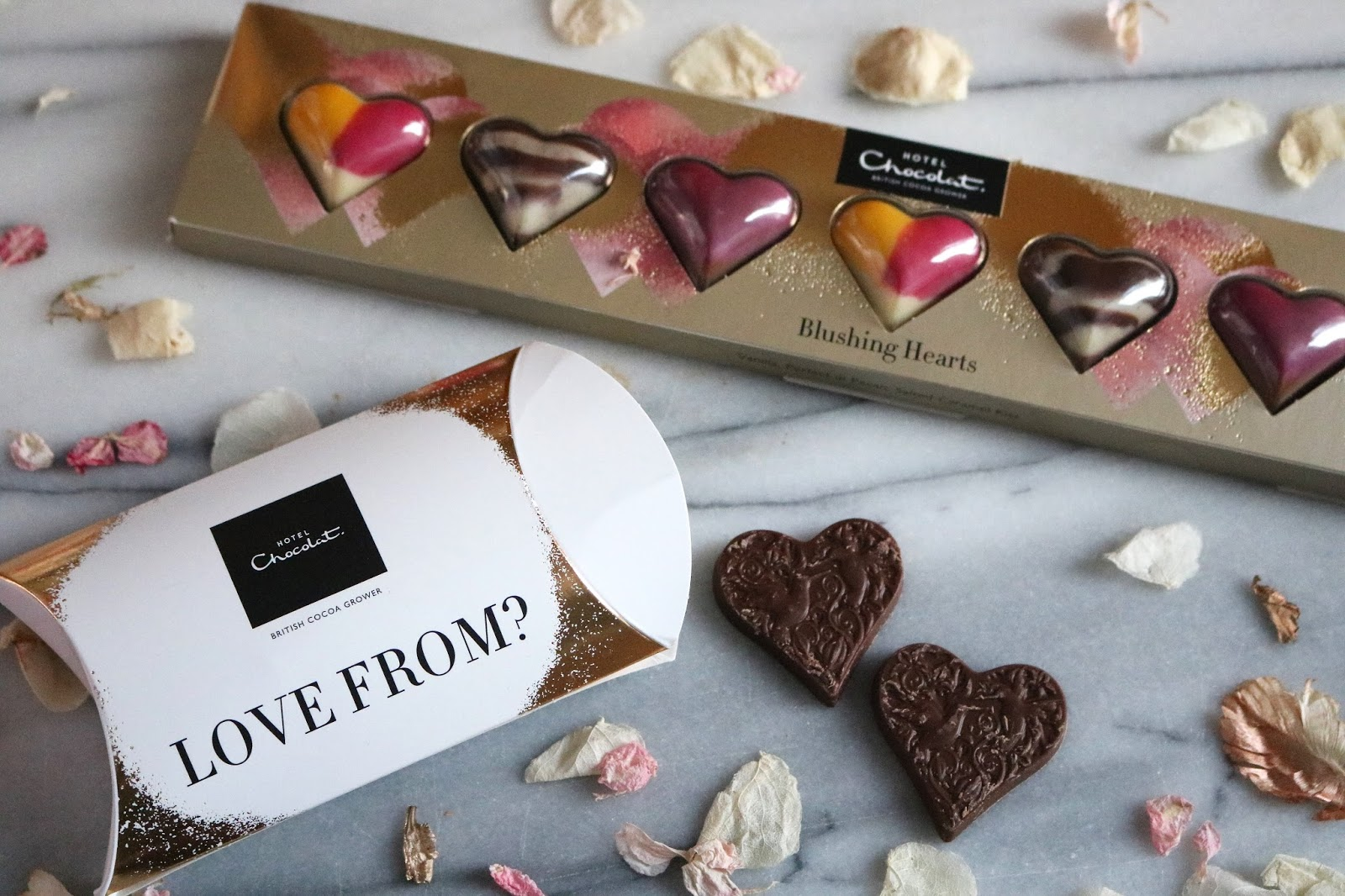 hotel chocolat blushing hearts filled chocolates and love solid milk chocolate hearts