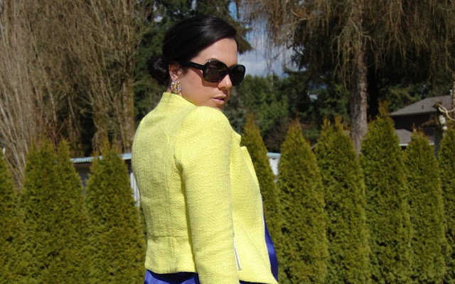 Neon Zara jacket, jewel toned Joe fresh silk tank and a Celine Mini Luggage