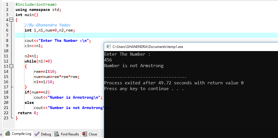 C++ Program To Check Number Is Armstrong Or Not
