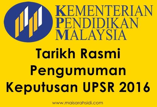 Tarikh Keputusan UPSR 2016