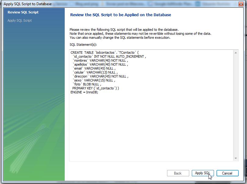 Clic en Apply SQL