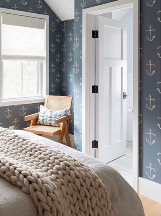 Gray Anchor Nautical Wallpaper Bedroom