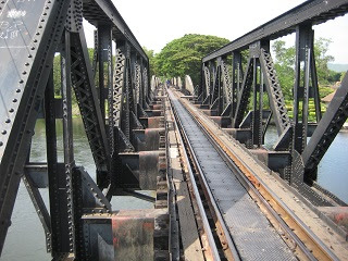 "Bridge at River Khwae Yai, kanchanaburi Town - Better known as ""Bridge over the River Kwai"""