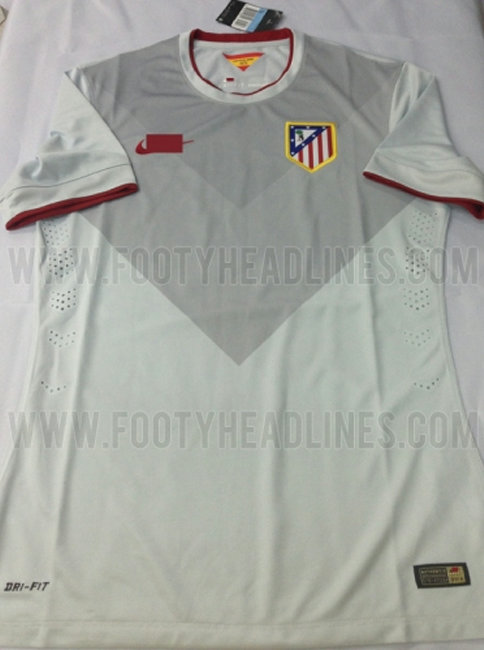 Atletico Madrid 14 15 Away Kit Atletico Madrids grey away kit for 2014/15: a bit of a dull change from this seasons vibrant yellow [Picture]