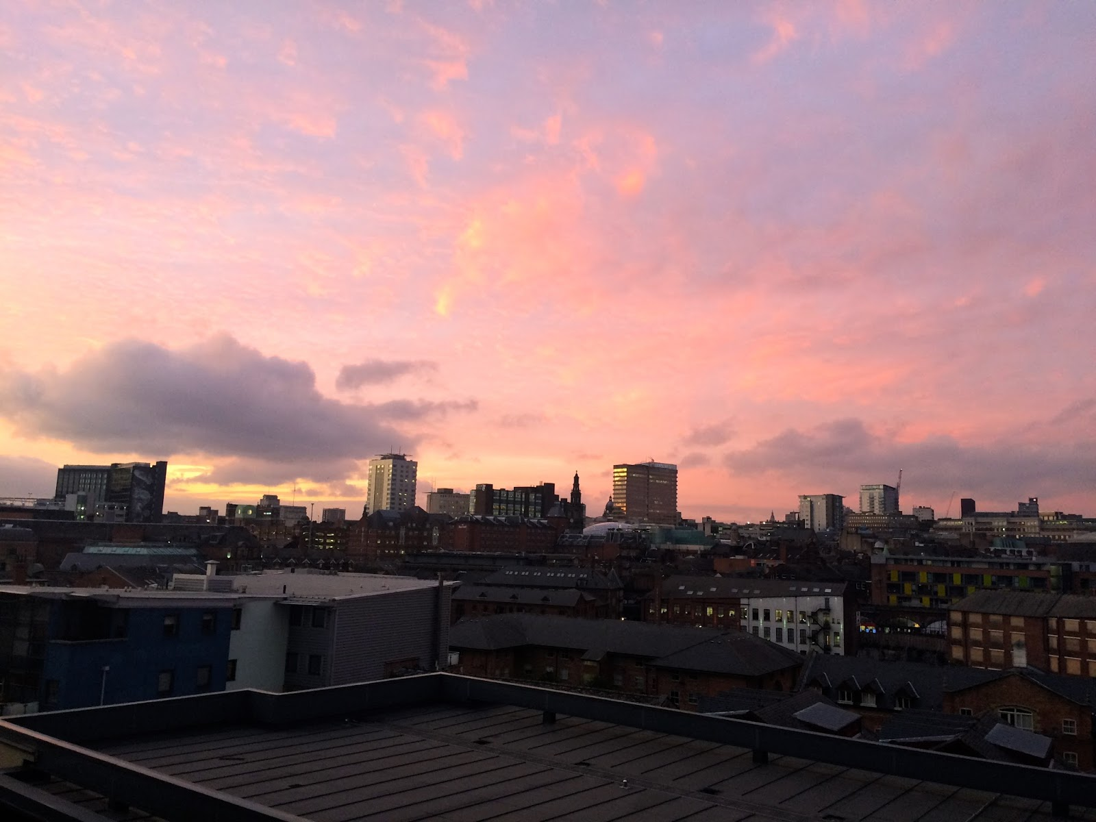 View of Leeds City skyline with sunset