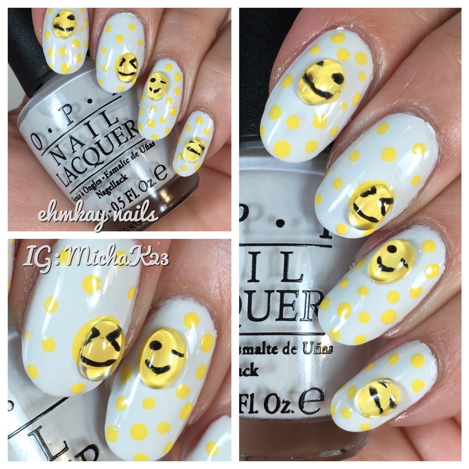 Ehmkay Nails Magnifying Bubble Studs From Born Pretty With Emoticon