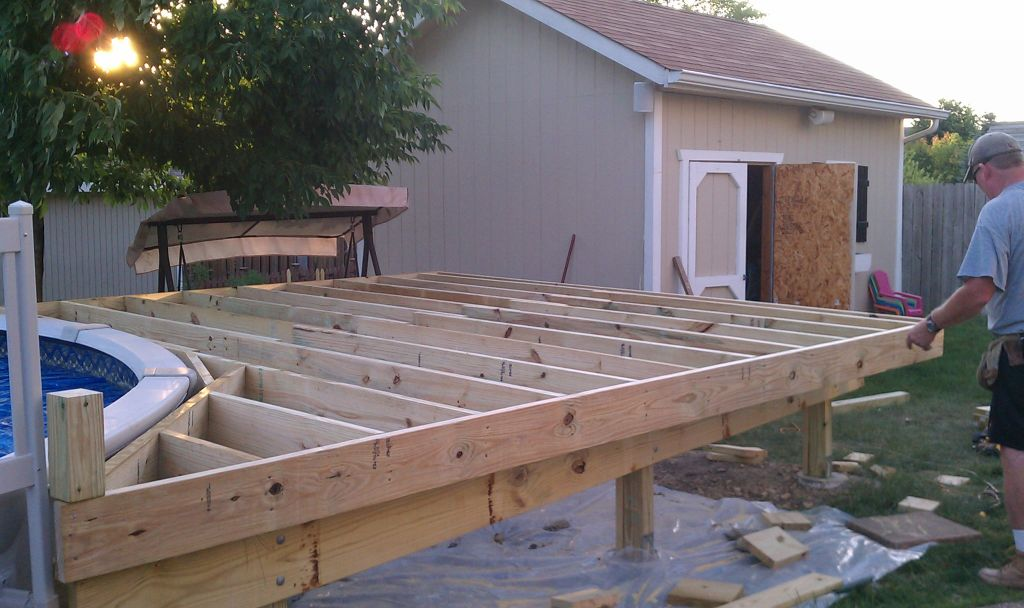 deck building building a deck around a pool build. Black Bedroom Furniture Sets. Home Design Ideas