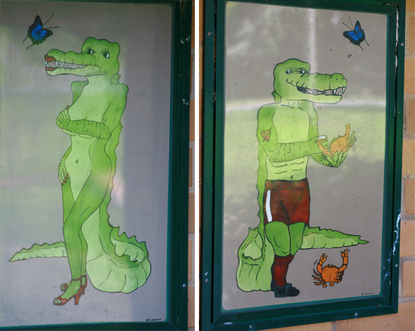 20+ Of The Most Creative Bathroom Signs Ever - Crocodile Toilet Signs In Daintree, North Queensland Australia