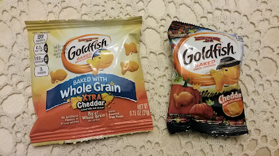 Goldfish from the outlet store and from Target, the smaller one is marketed for Halloween