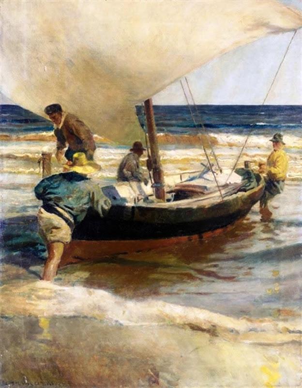 Pescadores arrastrando la barca, Sacando la barca, Enrique Martínez Cubells, Pintor español, Pintores españoles, Martínez Cubells, Paisajes de Enrique Martínez Cubells, Pintores Valencianos