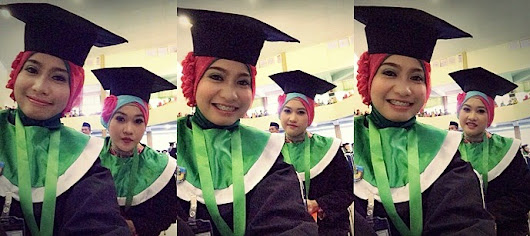 green, toga, and smile in happy graduation. ~ TWO GLASSES