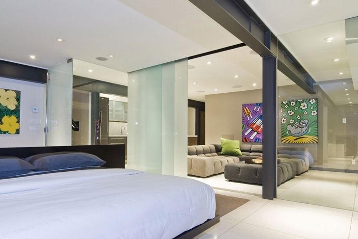Bed in Hollywood Mansion by Whipple Russell Architects