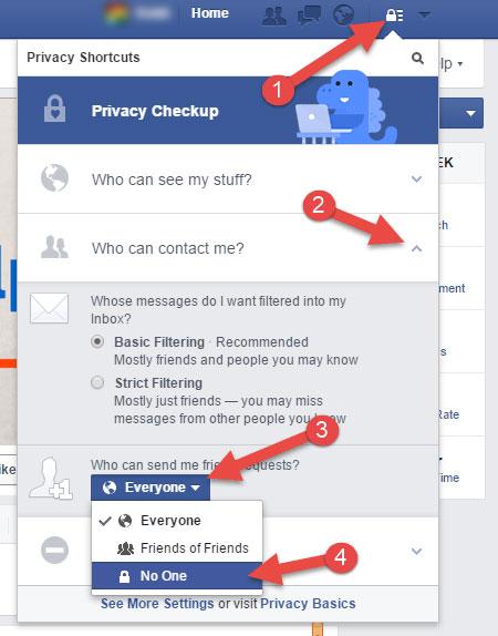 Disable facebook friend request