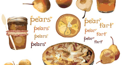 Rustic Pears and Lettering Clip Art