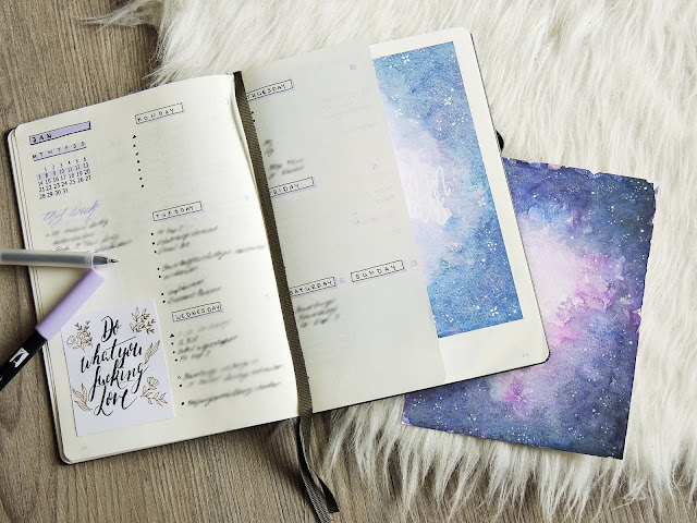weekly setup galaxy theme bullet journal glitter is the new black