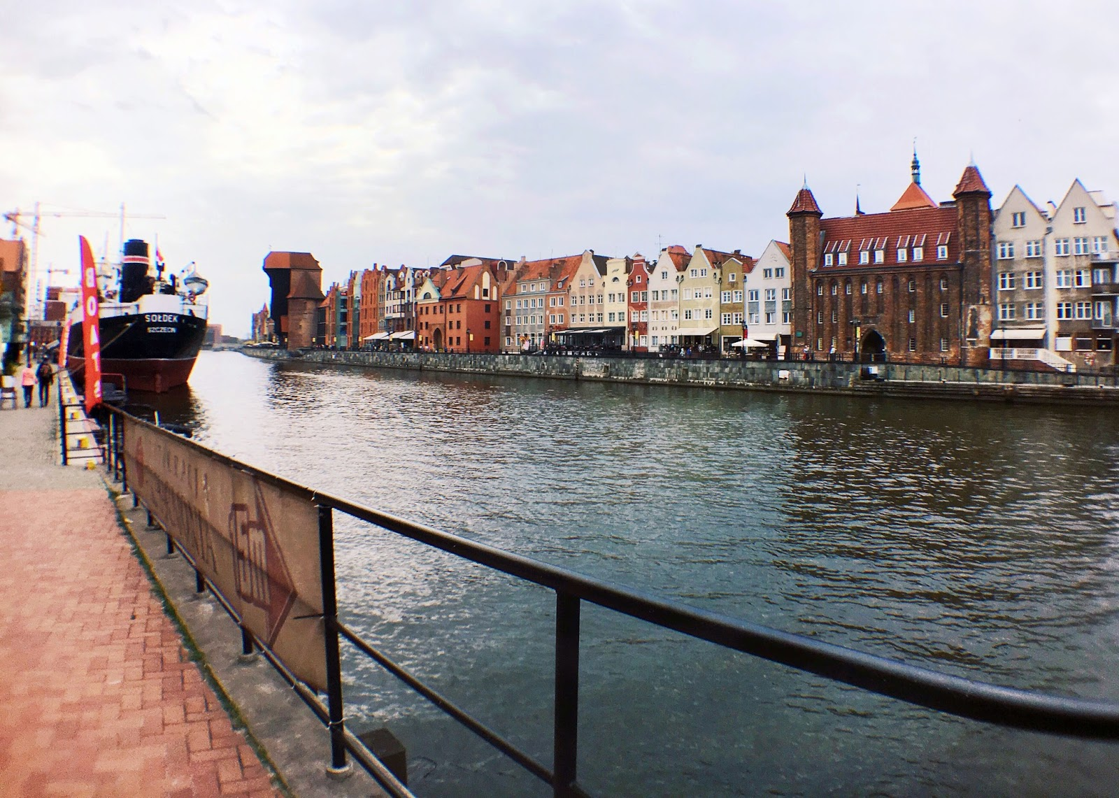 river view in Gdansk, Poland on fish eye lens by travel blogger