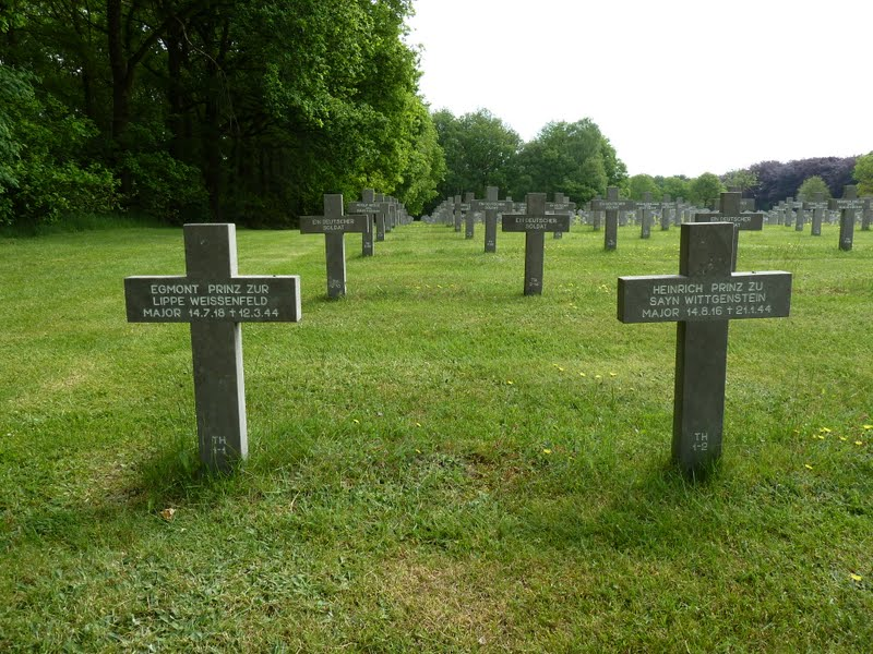 The graves of Night Fighter Aces Egmont Prinz zur Lippe Weissenfeld and Heinrich Prinz zu Sayn Wittgenstein at Ysselsteyn