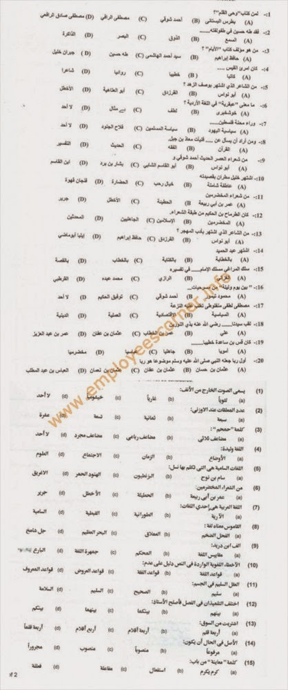 Important MCQS from Past Papers of PPSC Lecturers Jobs ARABIC