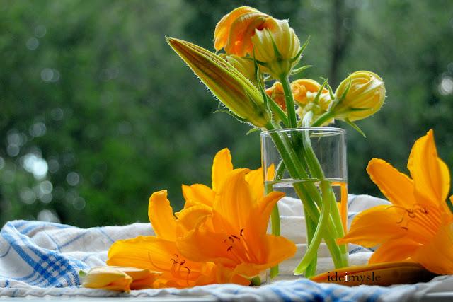 kwiaty liliowca, kwiaty cukinii, edible daylily, zuccini flowers