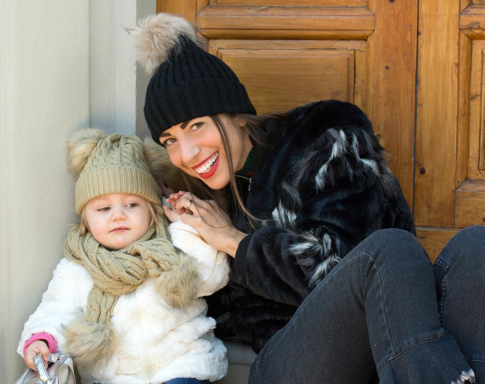 cappellini pelliccia mamma e figlia