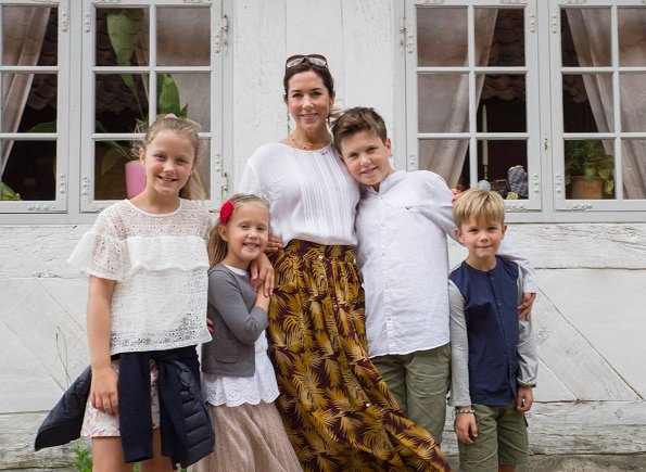Crown Princess Mary, Prince Christian, Princess Isabella, Prince Vincent and Princess Josephine visited Old Town of Aarhus. Zara blouse