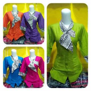 Baju Batik Blus Dasi Model Pramugari Polos Karang