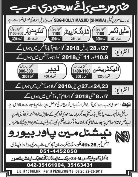 Jobs in Saudi Arab 2018 for Steel Fixer, Electrician, Labours - Confirm Visa - Apply Now