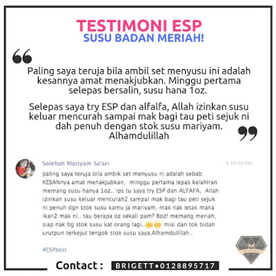 Testimoni Ibu Berpantang Yang Mengamalkan ESP Soy Protein