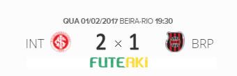 O placar de Internacional 2x1 Brasil de Pelotas pela Primeira Fase da Primeira Liga 2017