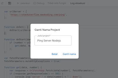 memberi nama project google script