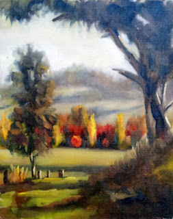 Oil painting of trees in autumn colour with distant hills and eucalypts in the foreground.