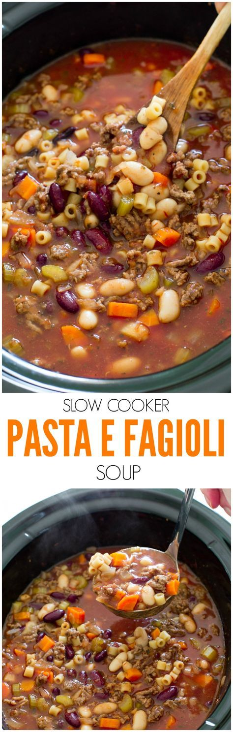 SLOW COOKER PASTA E FAGIOLI SOUP RECIPE