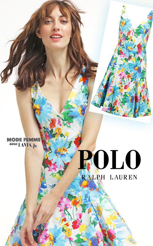Robe courte d'été en coton à fleurs multicolores POLO RALPH LAUREN