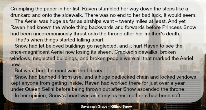 Snippet from Killing Snow, by Savannah Grace