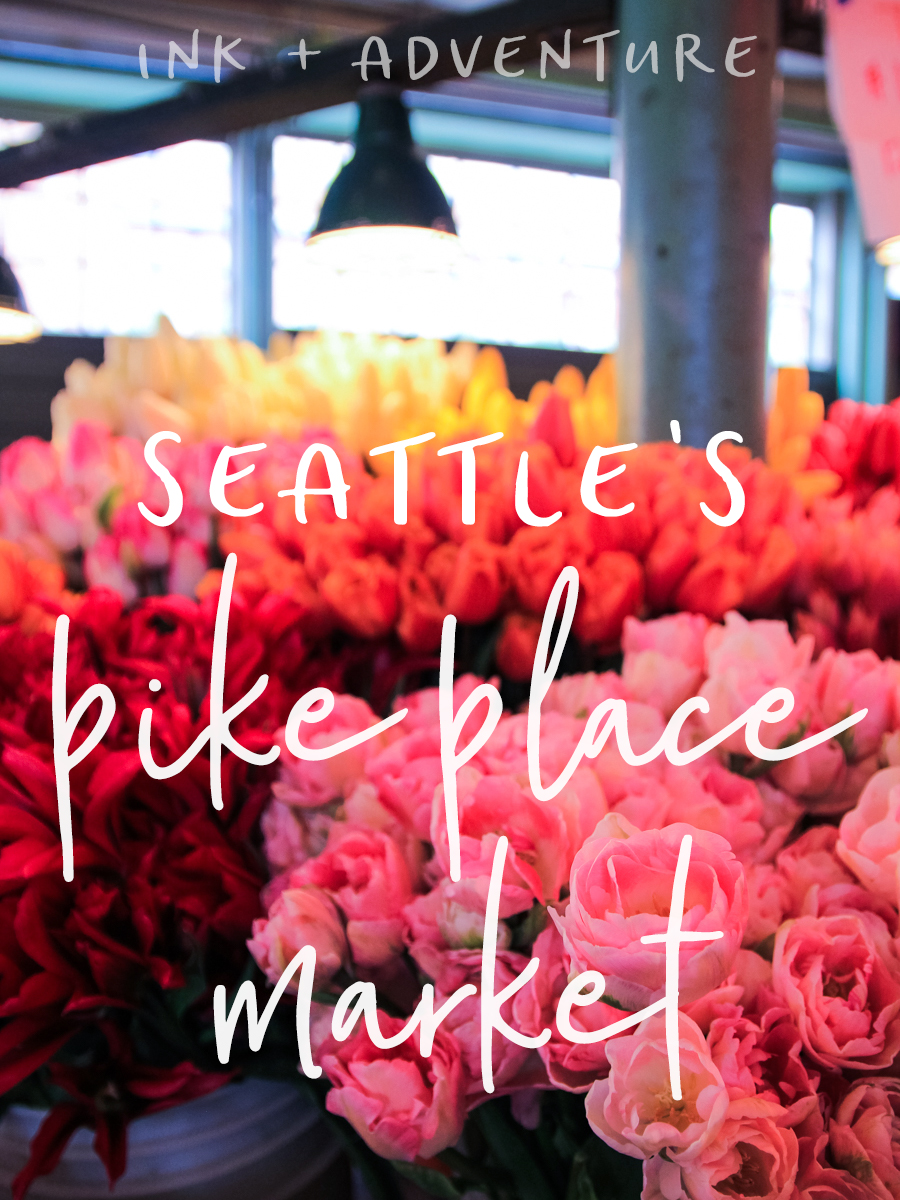Pike Place Market is one of the most colorful places in Seattle. even when it's gray and rainy outside, the market is full of bright flowers, produce, seafood and neon signs.