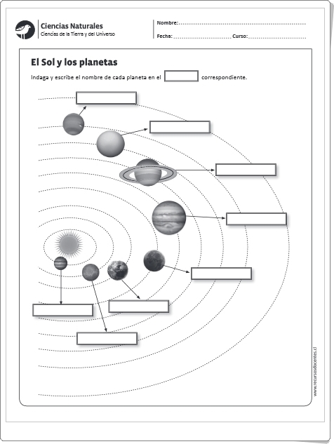 EL SOL Y LOS PLANETAS (Ficha de Ciencias Sociales de Primaria)