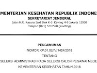 Pengumuman Hasil Seleksi Administrasi CPNS Kementerian Kesehatan Tahun 2018