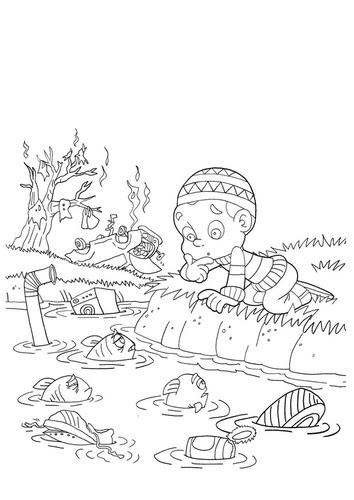 Dibujo De Contaminación Del Agua 4 Dibujo
