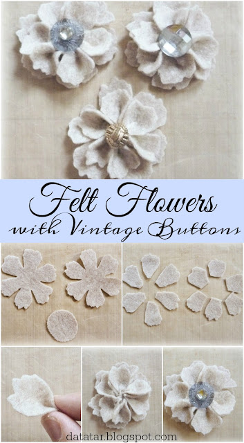 Vintage Button Felt Flower Tutorial by Dana Tatar