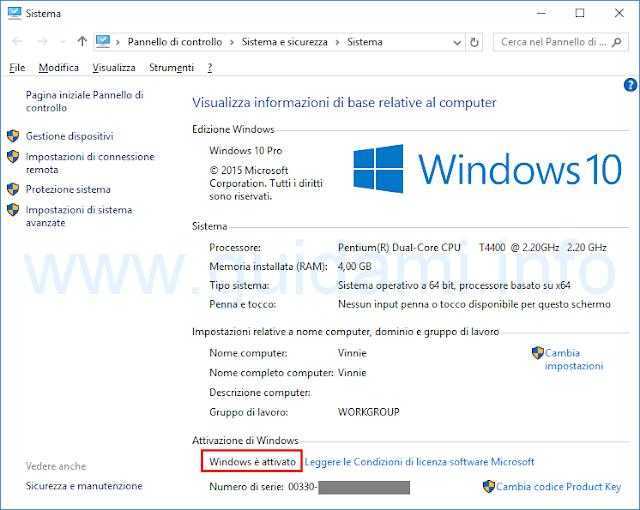 Vedere se Windows 10 è attivato da Sistema