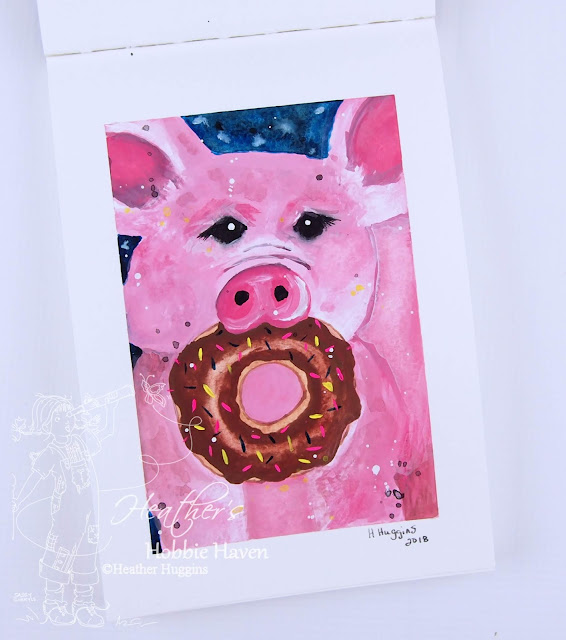 Heather's Hobbie Haven - Gouache Sketchbook - Pig with Donut