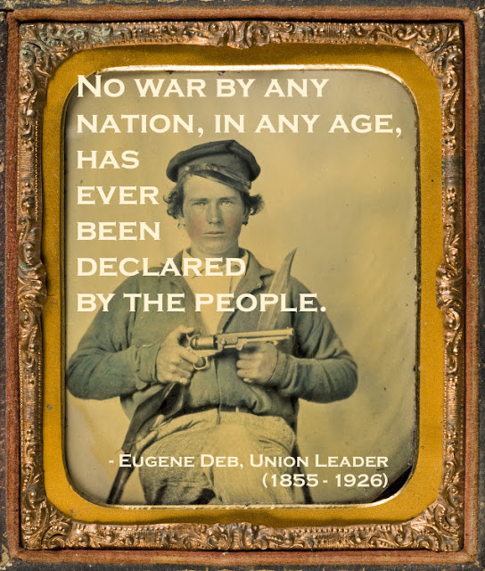 Daguerreotype portrait hand colored c.1860s. Private Japhet Collins, Confederate States Army, holding a revolver and an enormous knife. Quote by Eugene Deb re war. Armchair General and other stories of The Better Defense. marchmatron.com