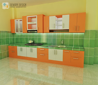 kitchen set warna orange malang